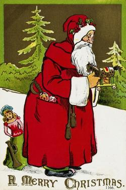 A Merry Christmas Postcard with Santa Claus Holding a Toy
