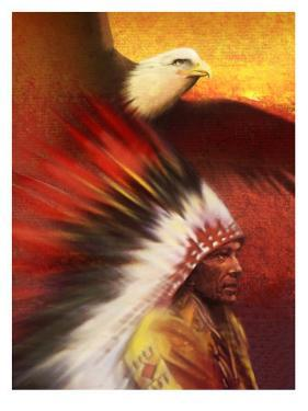 A Middle-Aged Adult Native American Male Wearing a Headdress with a Bald Eagle Flying Overhead