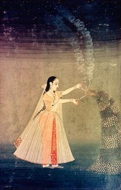 A Miniature Painting Showing Nadre Banu Lighting Fireworks