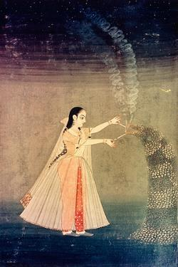 A Miniature Painting Showing Nadre Banu Lighting Fireworks