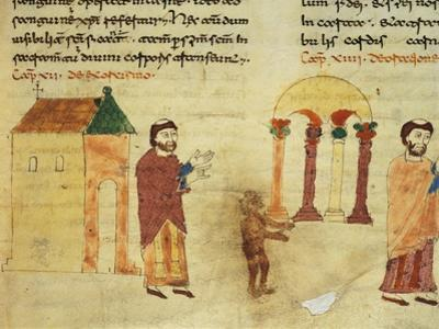 A Monk Hunting the Devil from a Church Towards a Pagan Temple