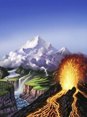 A Montage of Earth's Features Including a Volcano, River, Storm and Mountains