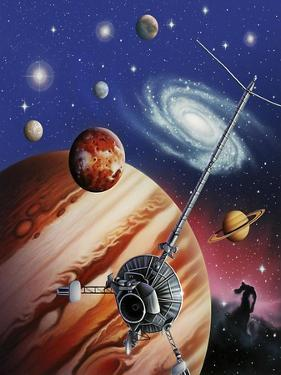 A Montage of the Universe Featuring Astronomical Objects and an Exploratory Craft