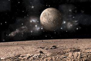 A Moon Rises over a Rocky and Barren Alien Landscape