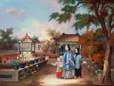 A Mother with Her Children in a Chinese Garden, circa 1850