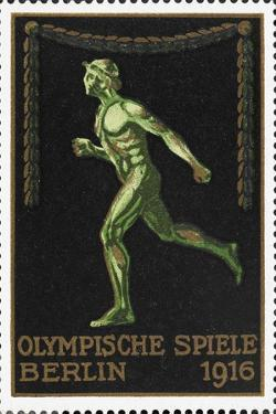 A Naked Athlete Running. Germany 1916 Berlin Olympic Games Poster Stamp, Unused