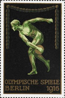 A Naked Discus Thrower. Germany 1916 Berlin Olympic Games Poster Stamp, Unused