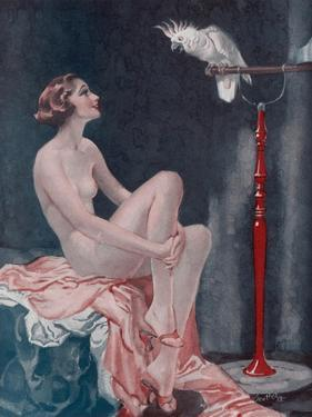 A Naked Woman Relaxing While Speaking to Her Cockatoo