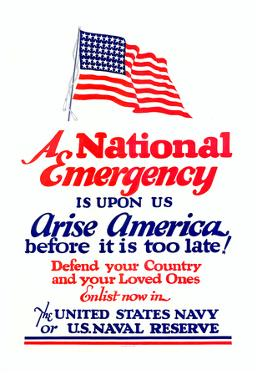 A National Emergency is Upon Us Arise America Navy Naval Reserve WWII War Propaganda Art Poster