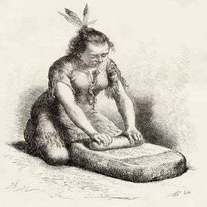 A Native Guayan Woman Crushing Grain