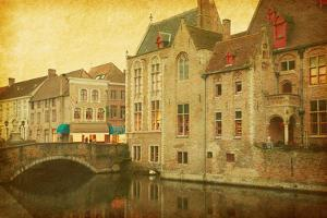 Bruges Historic Centre, Belgium. Photo in Retro Style. Paper Texture. by A_nella