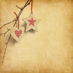 Christmas Decoration Hanging over Old Paper Background by A_nella