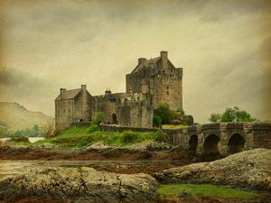 Eilean Donan Castle on a Cloudy Day. Low Tide. Scotland, Uk. Photo in Retro Style. Paper Texture. by A_nella