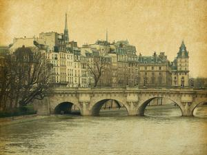 Seine.Pont Neuf in Central Paris, France. Photo in Retro Style. Paper Texture. by A_nella