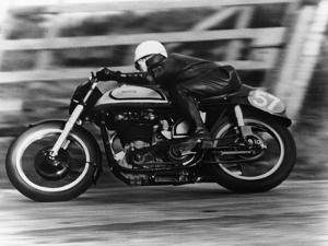 A Norton in Action in the Isle of Man TT, 1950
