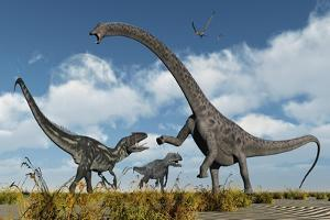A Pair of Allosaurus Dinosaurs Confront a Giant Diplodocus