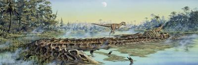 A Pair of Allosaurus Dinosaurs Explore the Remains of a Diplodocus Carcass