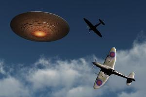 A Pair of Royal Air Force Supermarine Spitfires Giving Chase to a Ufo