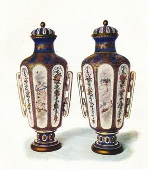 A Pair of Unique Hexagonal-Shaped Sevres Vases' 1906