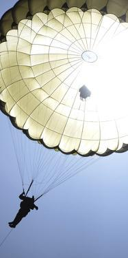 A Paratrooper Descends onto the Drop Zone
