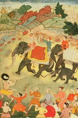 A Party of Elephant Hunters, Mughal, C.1615