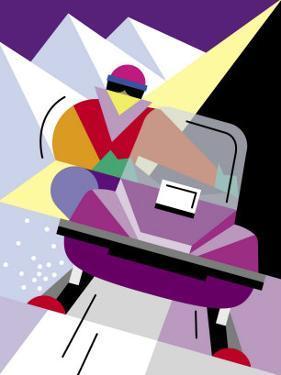 A Person Riding a Snowmobile