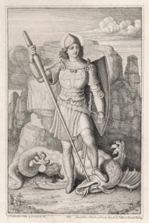 Saint George with His Foot on the Neck of the Dragon He Has Just Slain by A. Petrak
