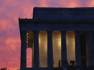 A Pink Sky Above the Lincoln Memorial