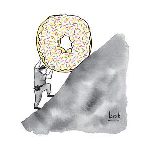 A police officer pushes a giant donut up a hill like Sisysphus. - New Yorker Cartoon