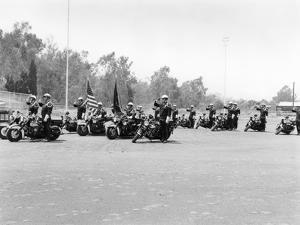 A Police Patrol with their Harley-Davidsons, America