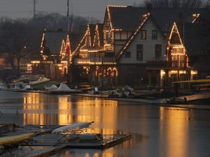 A Portion of Philadelphia's Boathouse Row is Shown at Dusk Thursday