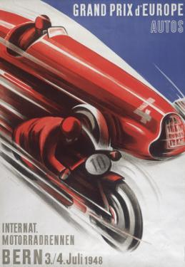 A Poster for the Grand Prix D'Europe to Be Held at Bern on 3/4th July 1948
