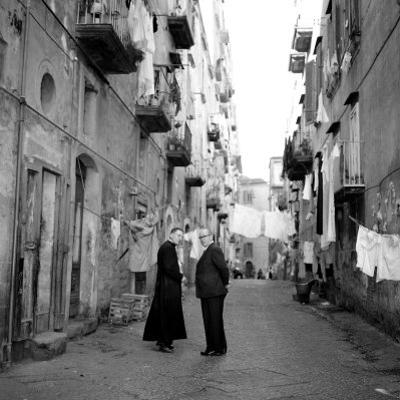 A Priest Chats to an Elderly Man in a Street, Naples, Italy 1957