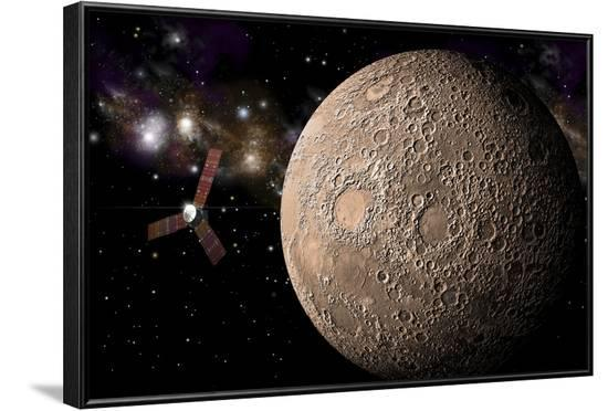 A Probe Investigating a Heavily Cratered Moon in Deep Space--Framed Art Print