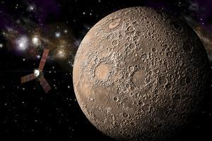 A Probe Investigating a Heavily Cratered Moon in Deep Space