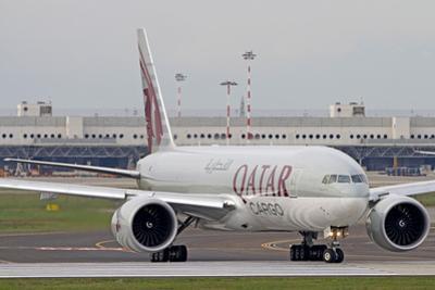 A Qatar Airways Cargo Boeing 777 at Milano Malpensa Airport, Italy