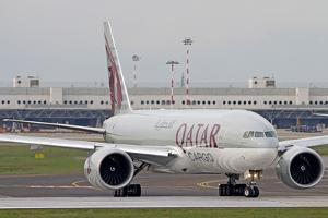 A Qatar Airways Cargo Boeing 777 at Milano Malpensa Airport, Italy