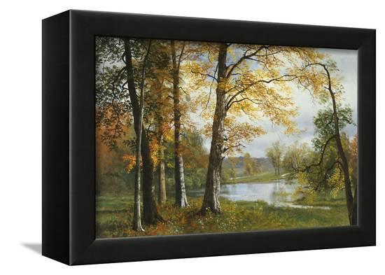 A Quiet Lake-Albert Bierstadt-Framed Stretched Canvas