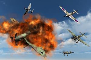 A Royal Air Force Supermarine Spitfire Attacking German Stuka Dive Bombers