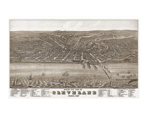 Bird's Eye View of Cleveland, Ohio, 1877 by A^ Ruger