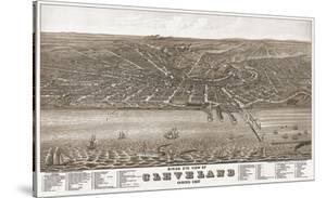 Bird's Eye View of Cleveland, Ohio, 1877 by A. Ruger