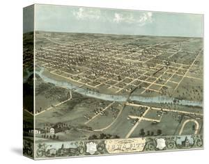 Bird's Eye View of Iowa City, Iowa, 1868 by A. Ruger