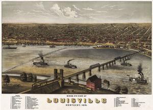 Bird's Eye View of Louisville, Kentucky, 1876 by A. Ruger