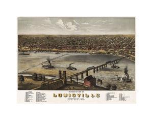 Bird's Eye View of Louisville, Kentucky, 1876 by A^ Ruger