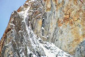 A Scenic, Vertical, Andes Mountains Rock Face, Dusted with Snow