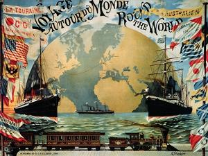 """Voyage Around the World"""", Poster for the """"Compagnie Generale Transatlantique"""", Late 19th Century by A. Schindeler"""