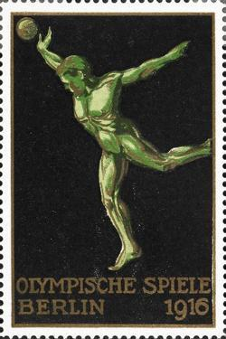 A Shot Putter. Germany 1916 Berlin Olympic Games Poster Stamp, Unused