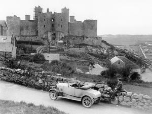 A Singer Car in Front of Harlech Castle, Wales, Early 1920S