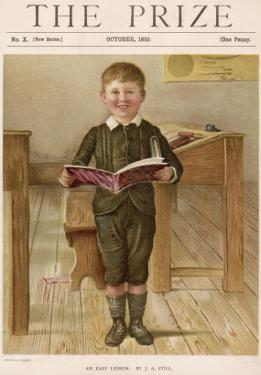 A Small Schoolboy Smiles as He Demonstrates His Reading Skills