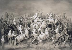 Chir Singh, Maharajah of the Sikhs and King of the Punjab with His Retinue Hunting Near Lahore by A. Soltykoff